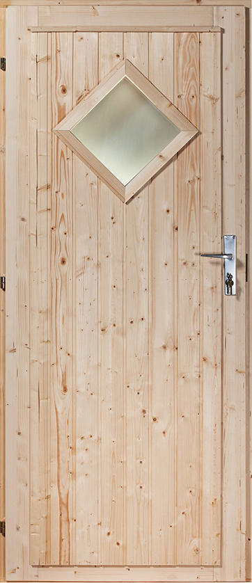 Exterior door Pine/Spruce ('Diamond' with window) 10x21 - 988x2078mm (left) lock standard